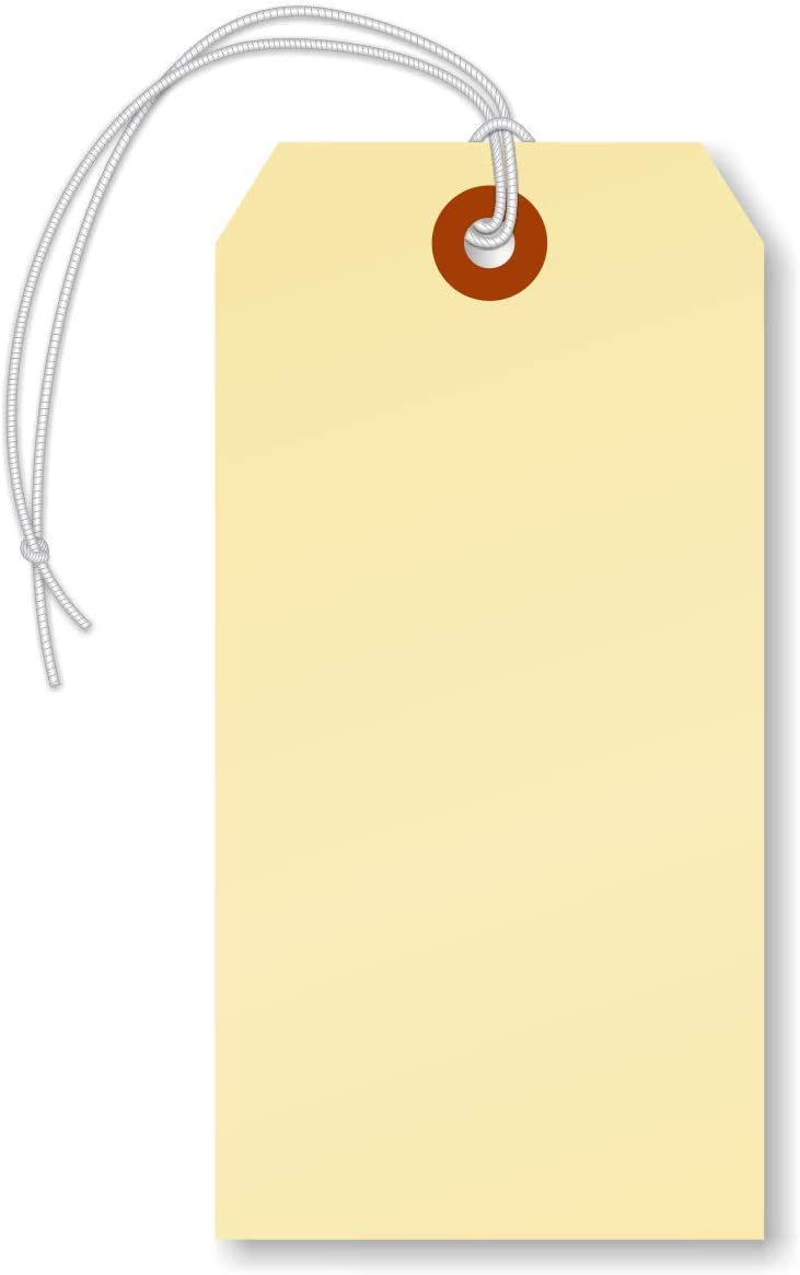 """SmartSign Blank Manila Shipping Tags with Elastic, Size #5   13pt Cardstock Tags, 4 3/4"""" x 2 3/8"""", Pack of 100"""