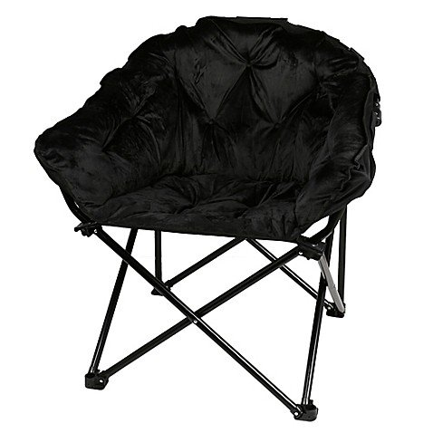 Folding Faux Fur Club Chair - Padded Seats (Black) by Generic