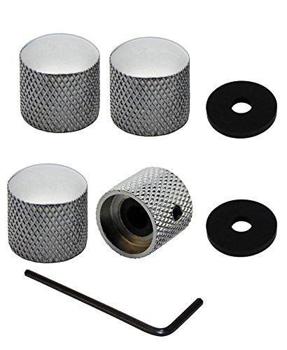 YMC Chrome-Dome-Knob-4pc 4 Pieces Chrome Brass Dome Knob for Etc Guitar or Bass (Guitar Dome Knob)