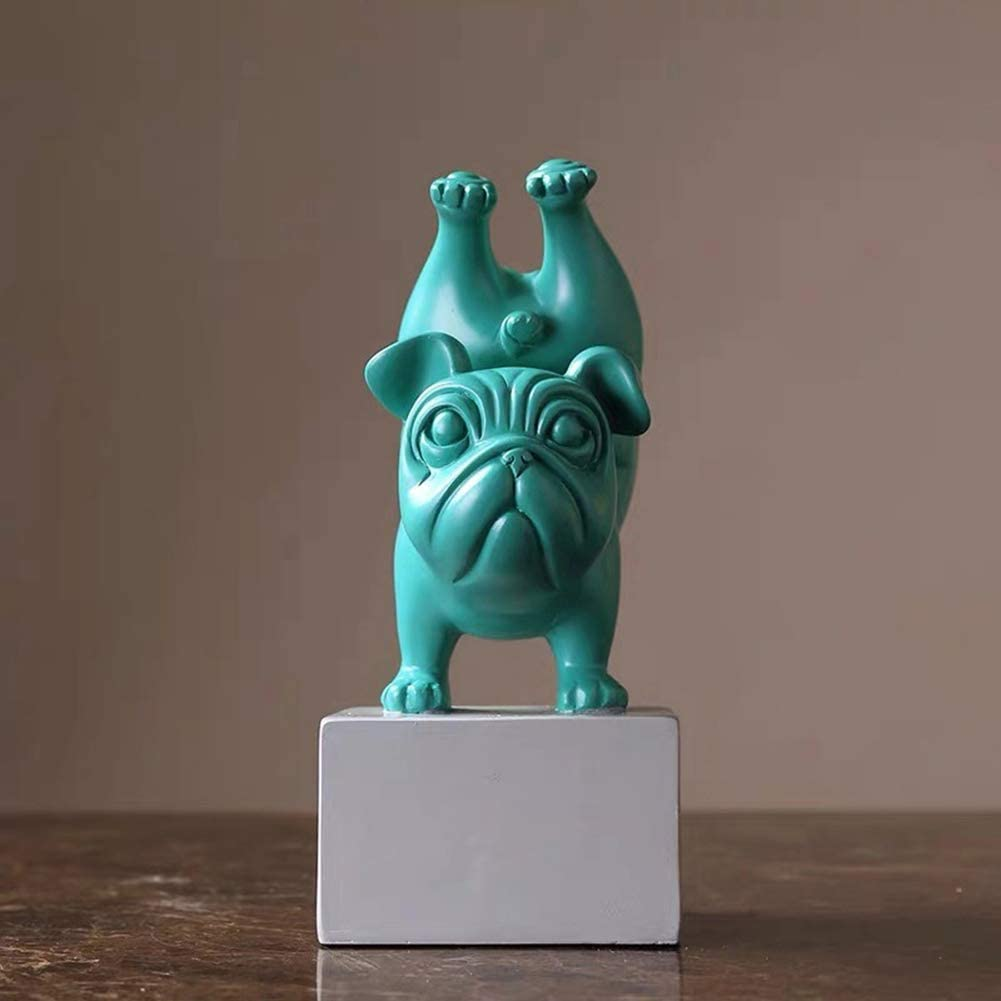 Bulldog Statues and Figurines Creative Northern Europe Yoga Dog Statue Resin Crafts Animal Figure Statue Decoration Northern Europe Bull Dog Yoga Small Statue Home Decoration Green