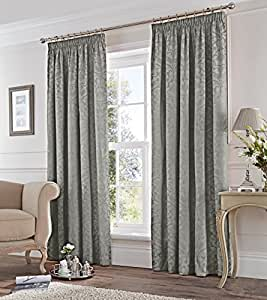 "Gris plata Damasco Jacquard, 66""x 72–168cm x 183cm plisadas cortinas"