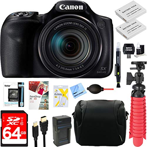Canon PowerShot SX540 HS 20.3MP Digital Camera with 50x Optical Zoom + 64GB Dual Battery Accessory Bundle