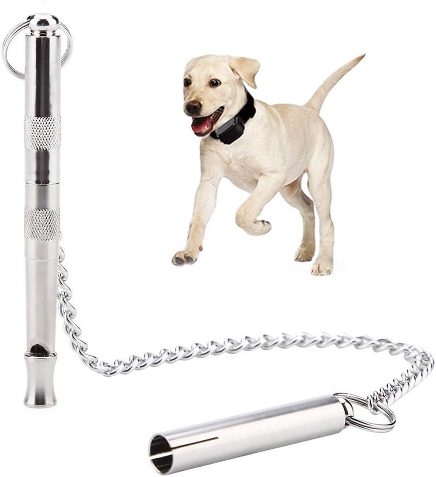 Pssopp Silbato para adiestramiento de Perros Silbato para Perros Ultrasónico Silbato para Perros con Control de ladridos portátil Frecuencia Ajustable Silbato para Perros con Cadena Colgante