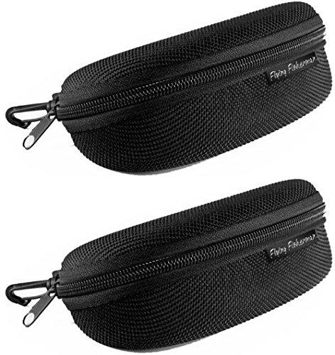 Flying Fisherman Zipper Shell Sunglass Case Belt Loop and Clip (Black)