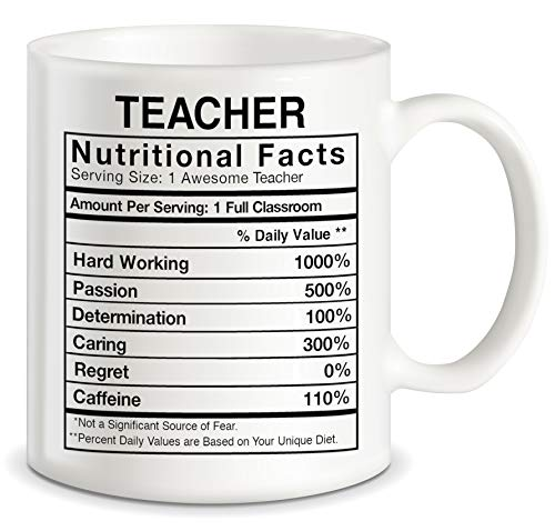 Teaching Gifts for World's Best Teachers Ever Teacher Nutritional Facts Label Classroom Decorations Funny Novelty Gag Gift Ideas Ceramic Coffee Mug Tea Cup
