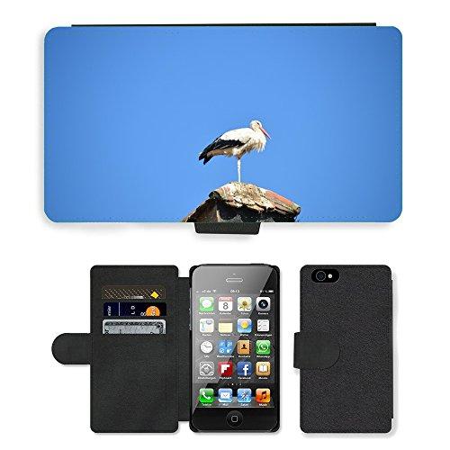 Just Phone Cases PU Leather Flip Custodia Protettiva Case Cover per // M00127306 Stork Oiseau animal Rattle Stork // Apple iPhone 4 4S 4G