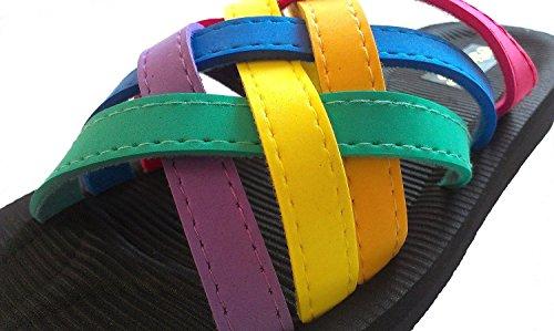 Siebi's PLAYA Bienestar Zapatillas baño Mujer con Teléfono gratuito Raspador de callos Multicolor