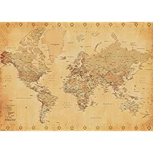 Pyramid International–Póster Mapa del Mundo Vintage Style Gigante de póster, Papel, muticolour, 10x 140x 1,3cm