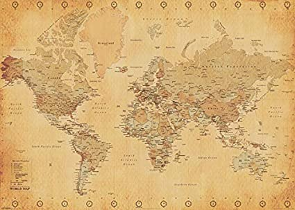 Large Paper World Map.Pyramid International World Map Vintage Style Giant Poster Paper