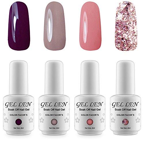 Gellen Gel Nail Polish Set Nude Glitter Collection Colors - 4pcs/set 8ml Each Nail Art Kit