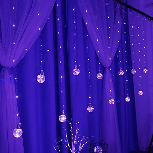 Obrecis LED Bulb Copper String Light, USB Remote Control Globe Window Light Fairy Lights for Patio, Garden, Home, Bedroom Decor-8ft x 3ft(Purple)
