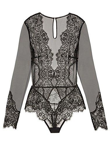 d5e13580e68f Jual ohyeahgirl Women Sheer Teddy Lingerie Lace Bodysuit with Long ...