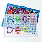 296 Pcs Creative Mosaic DIY Puzzle Mushroom Nail the Composite Picture Peg Puzzle Game Intelligent 3D Games Educational Toys for Kids Children