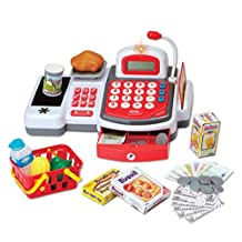 Grocery Store Cash Register with Conveyor Belt Scanner, Credit Card Reader, Microphone, Play Money and Food Playset
