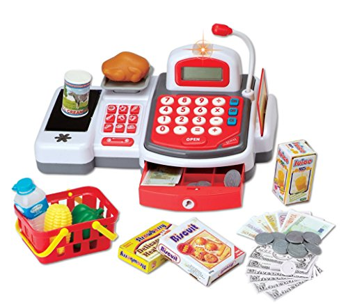Grocery Store Educational Cash Register with Conveyor Belt Scanner, Credit Card Reader, Microphone, Play Money and Food Playset