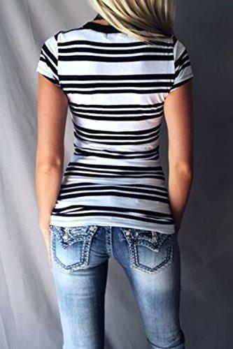 Las Mujeres Con Cuello En V Profundo Elegantes Rayas Colorblock Patchwork T Shirt Blusas Tops White