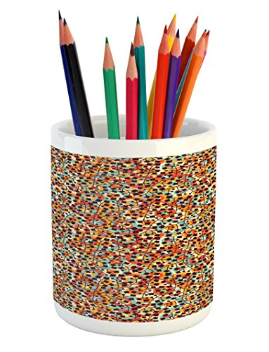 Ambesonne Modern Pencil Pen Holder by, Nature Inspired Scroll Pattern Buds on an Abstract Background with Colorful Circles, Printed Ceramic Pencil Pen Holder for Desk Office Accessory, Multicolor