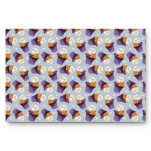 BMALL Custom Doormats Halloween Skull Cake Indoor/Entry Way Bathroom Mats Rubber Non-Woven Fabric Non Slip 31.5