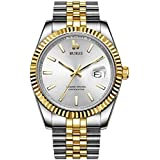 BUREI Luxury Men Automatic Mechanical Watch Date Display with Sapphire Crystal Luminous and Stainless Steel Band