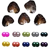 Unbrand Round Freshwater Pearl Freshwater Cultured Twins Pearl Oyster Mixed Colors 7-8mm Oysters with Pearls Inside