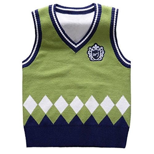 Happy Cherry Kids Boys V Neck Waistcoat Multi Argyle Sweater Vest Green 4T