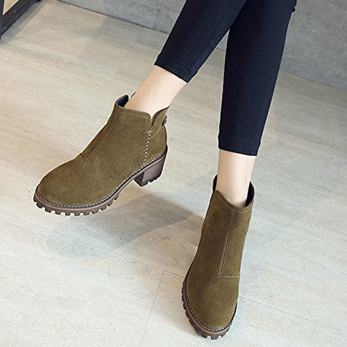 GEERBU Ankle Boots For Women Low Heel Suede Black Autumn&Winter Zipper Boots Green 1fQvrEKM
