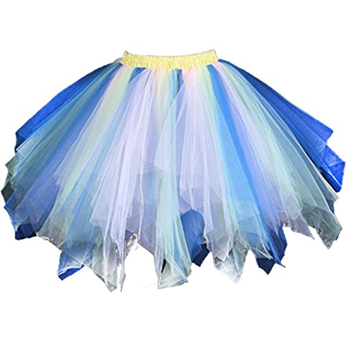 Kileyi Women's Tutu Costume Adult Tulle Skirt Short 1950s Vintage Petticoat Blue Pink L (Cute Female Clown Costumes)