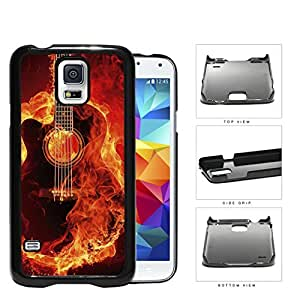 Acoustic Guitar Burning With Fire Flames Hard Plastic Snap On Cell Phone Case Samsung Galaxy S5 SM-G900