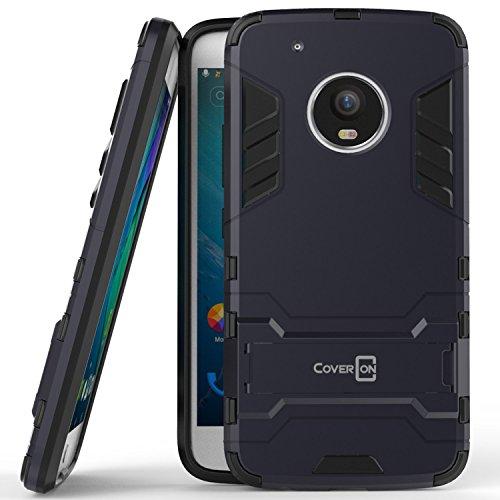 Price comparison product image Moto G5 Plus Case, Moto G Plus 5th Generation Case, Moto X 2017 Case, CoverON [Shadow Armor Series] Hard Slim Hybrid Kickstand Cover for Motorola Moto X (2017 Version) / G5 Plus Navy / Black