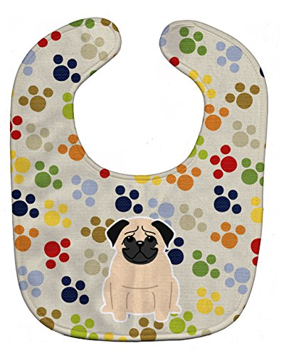 Caroline's Treasures Pawprints Baby Bib, Pug Fawn, Large -