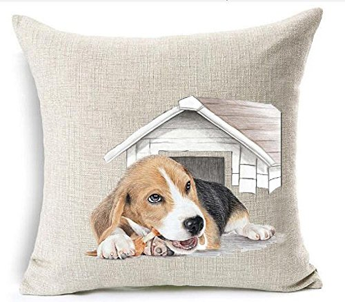 Red Bone Hound (18 x 18 Inches Cotton Linen Cute Funny Various Pet Dogs Human Friends Basset Hound Dachshund Gnawing Bones Kennel Throw Pillow Covers Cushion Cover Sofa Bedroom Living Room Square)