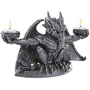 Design Toscano Judging the Darkness Dragon Candleholder