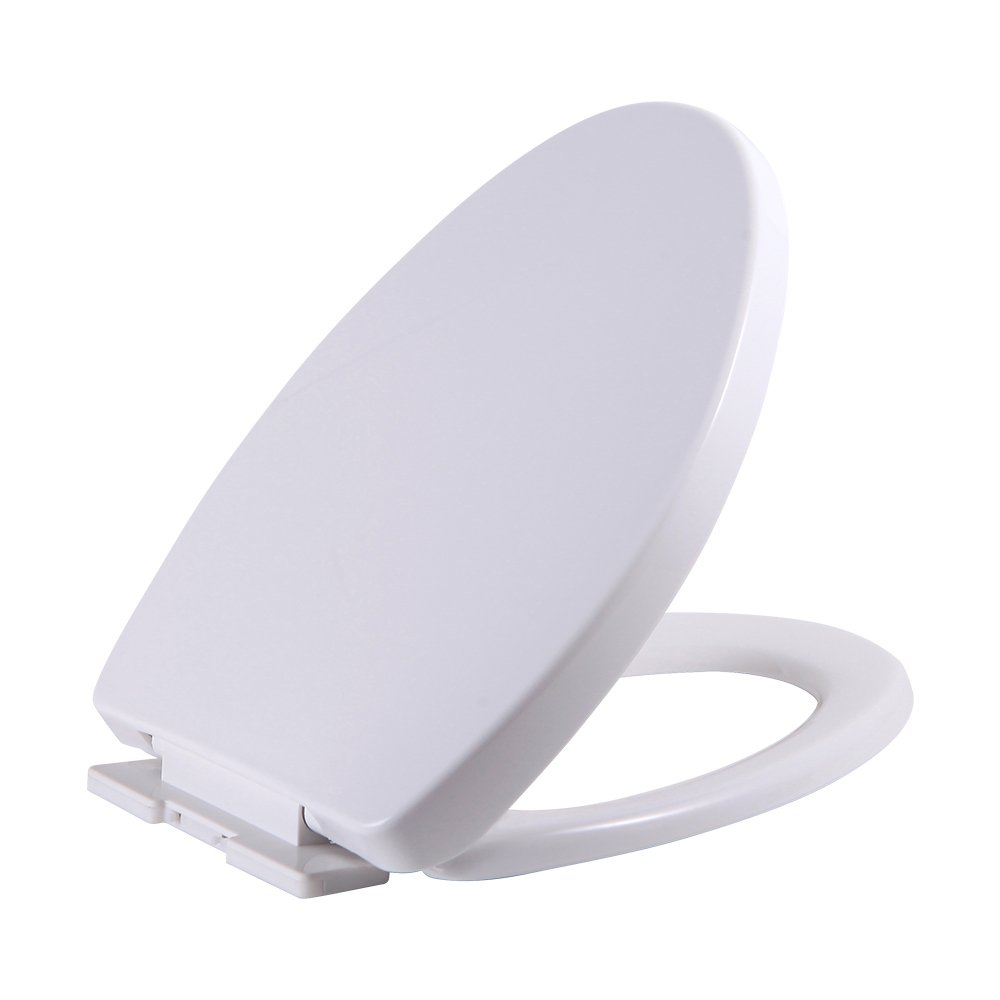 SAMETU Elongated Toilet Seat with Cover, Quiet-Close with Grip-Tight Bumpers, White