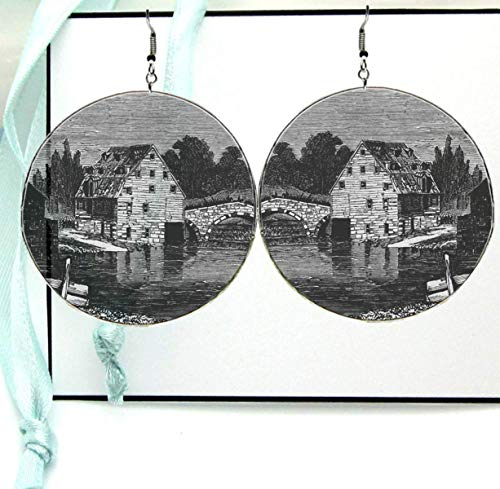 Black & White Wheelhouse Dangle Hoop Earrings, Large Glass Printed Landscape Image with Silver Ear Hooks
