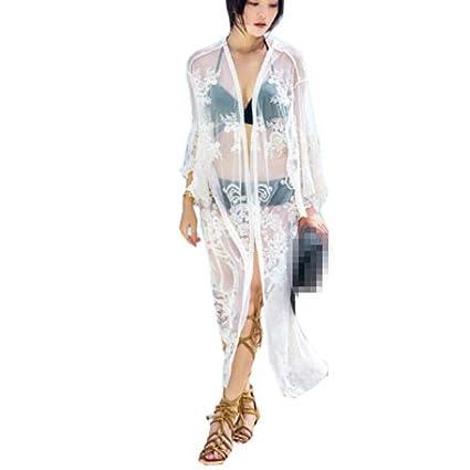 FENGS Tops De Mujer con Cárdigan Birrete De Encaje Bordado Traje De Baño Bikini De Mujer