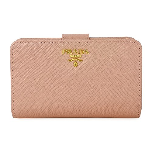 Prada Bi-fold Zip Saffiano Leather Wallet - Cammeo