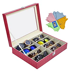 ADTL 3 Gifts for Free Sunglass Organizer Eyeglasses Boxes Jewelry Collection Box Red PU Leather Storage