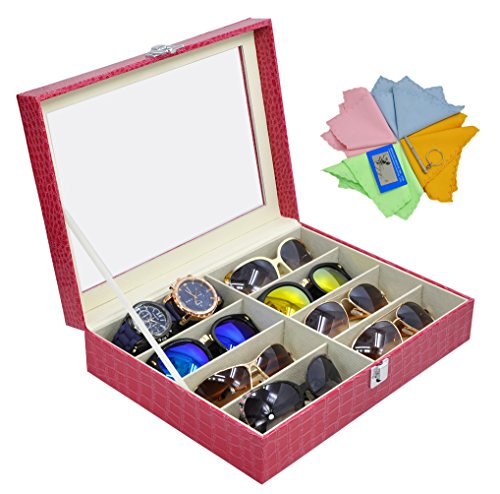 ADTL 3 Gifts for Free Sunglass Organizer Eyeglasses Boxes Jewelry Collection Box Red PU Leather - Sunglass Collection