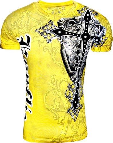 Designer Cross (Konflic Men's NWT Giant Cross Graphic Designer MMA Muscle T-Shirt XL Yellow)