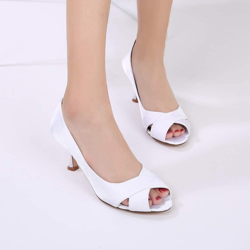 Bridal Shoes, Satijn Peep Toe Low Heel Schoenen Van Het Huwelijk Bruidsmeisje Partij Prom Mode Comfortabele Pumps Ivory Hoge Hakken Purple