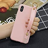 Amocase Soft Silicone Case with 2 in 1 Stylus for Samsung Galaxy A9 2018,Cute Sweet Candy Color Wrist Strap Stand Shockproof Anti-Scratch Flexible Case - Light Pink