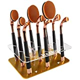 niceEshop(TM) New Arrival Brush Tree 9pcs Golf Oval Makeup Brushes Holder Hanging and Drying Display Makeup Brushes Tree,Gold