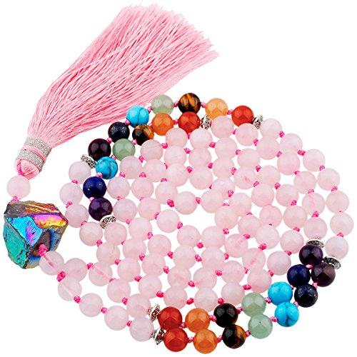 (SUNYIK 7 Chakra Stone Mala Bracelet/Neckalce,108 Tibetan Buddist Prayer Bead,Rose Quartz)