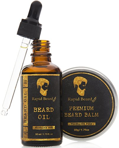 Beard Oil and Beard Balm Kit for Men Care - Unscented Leave in Beard Conditioner, Heavy Duty Beard Butter, Mustache Wax & Softener Gift set - for Beard and Mustache Styling, Shaping, Grooming & Growth