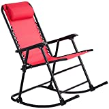 MD Group Zero Gravity Rocking Chair Patio Folding Red Outdoor Porch Rocker Furniture Garden Lounger