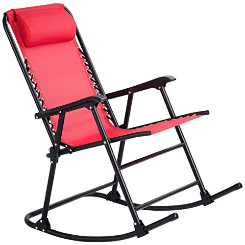 MD Group Zero Gravity Rocking Chair Patio Folding Red Outdoor Porch Rocker Furniture Garden Lounger by MD Group