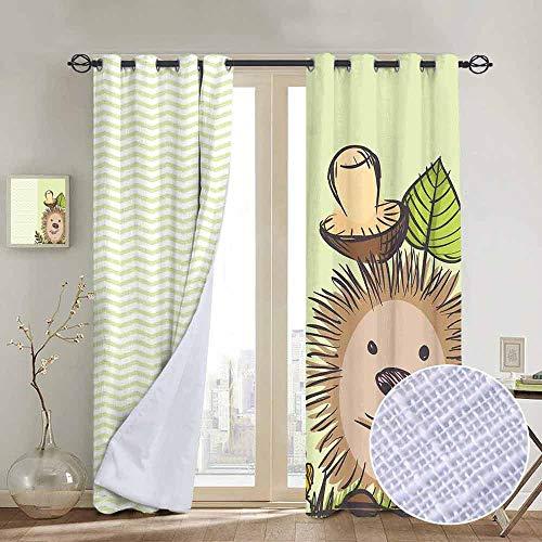 (NUOMANAN Decor Curtains by Mushroom,Cute Hedgehog Chevron Stripes Pattern Spiky Animal Wildlife Cartoon Design,Green Brown Beige,Wide Blackout Curtains, Keep Warm Draperies,1 Pair 52