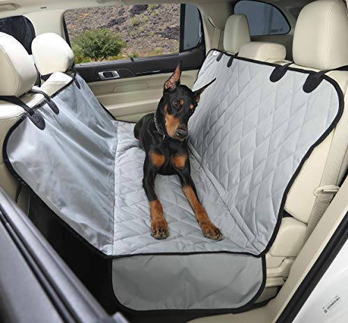 4Knines Dog Seat Cover with Hammock for Cars, Small Trucks, and SUVs - Grey Regular - USA Based Company