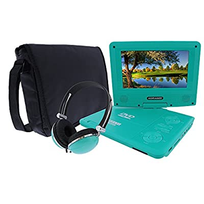 KORAMZI 7 inch Portable DVD Player with Rechargeable Battery, SD Card Slot and USB Port Swivel and Fold Portable DVD/CD/MP3 Player with Matching Color Headphones AC/DC Adapter (Green)- PDVD777 by Koramzi