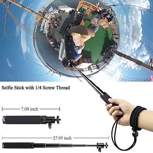 Kit de accesorios para Ricoh Theta S 5 en 1 EEEKit con selfie stick, Mini trípode, Securiy correa de muñeca, carcasa de silicona w/tapa de objetivo, ...